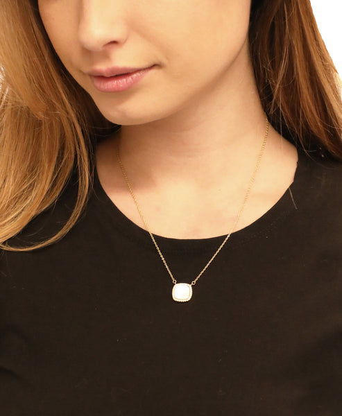 Mother of Pearl & CZ Necklace