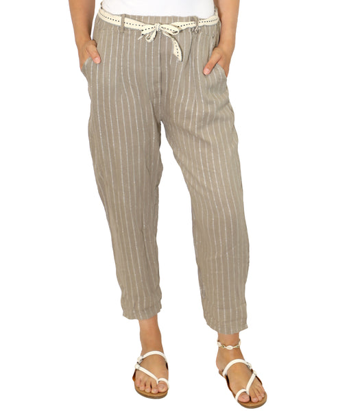 Zoom view for Stripe Linen Pant A