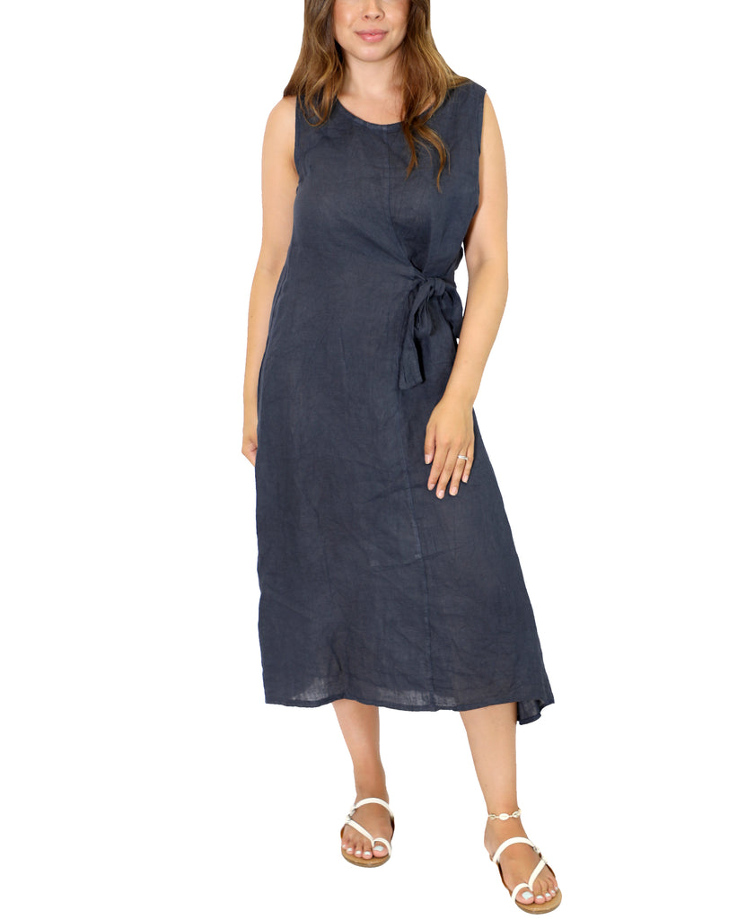 Side Tie Linen Dress