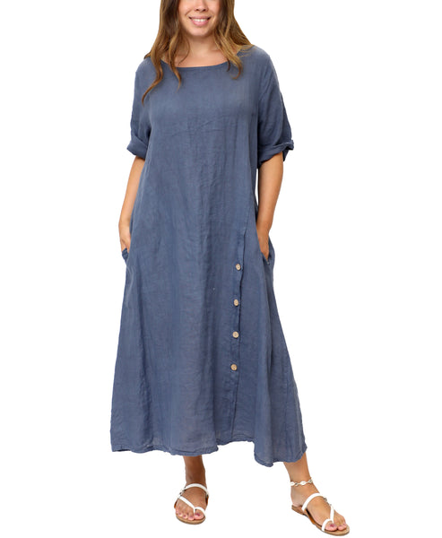 Zoom view for Linen Dress With Button Detail A