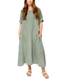 Linen Dress With Button Detail
