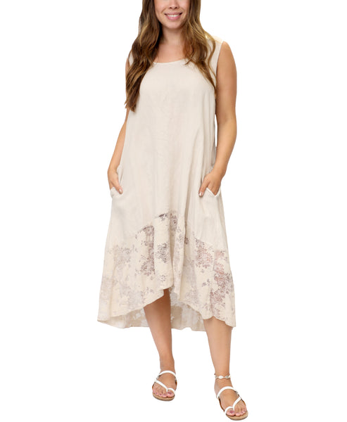Zoom view for Linen Hi-Lo Dress w/ Crochet Back A