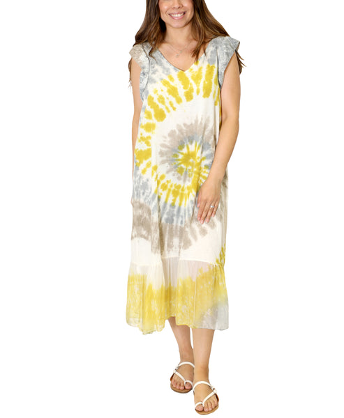 Zoom view for Linen Tie-Dye Maxi Dress A