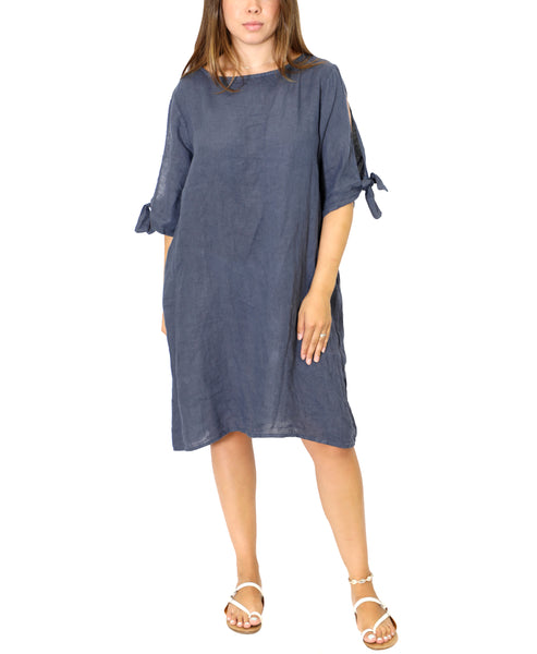 Zoom view for Linen Dress w/ Knot Sleeve