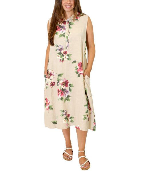 Zoom view for Floral Print Linen Dress A
