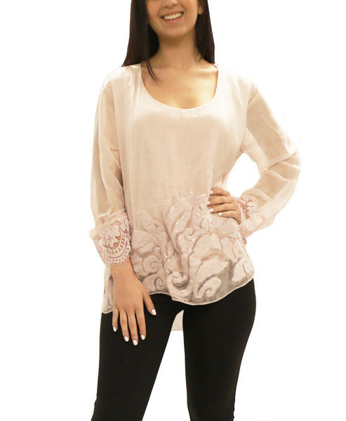 Silk Top w/ Lace, Embroidered & Sequin Accents