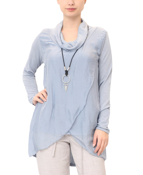 Draped Silk Top w/ Necklace - 2 Pc Set