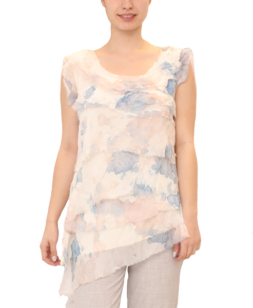 "Silk ""Water Color"" Tiered Asymmetrical Top"
