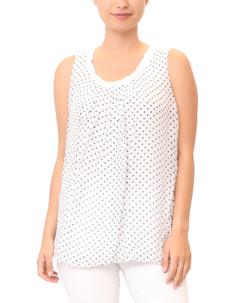 Silk Polka Dot Bubble Bottom Tank