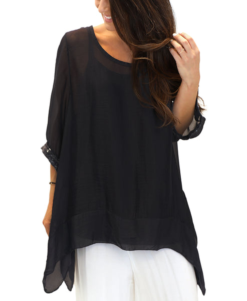 Silk Asymmetrical Blouse w/ Sequin Trim- 2 Piece Set