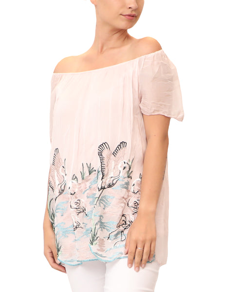 "Silk ""Bird"" Embroidered Top"