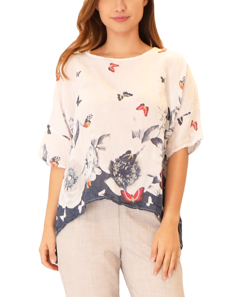 Top w/ Floral & Butterfly Print