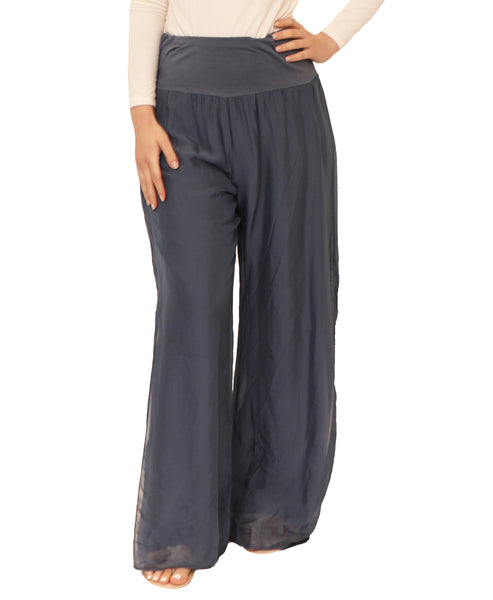 Silk Wide Leg Pants w/ Side Slits