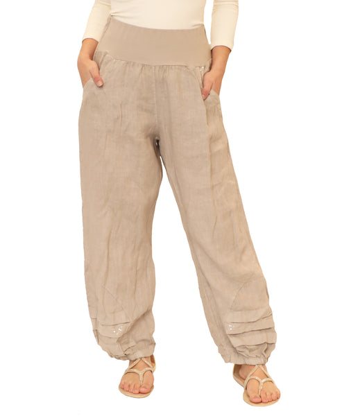 Linen Pant w/ Sequin Accents