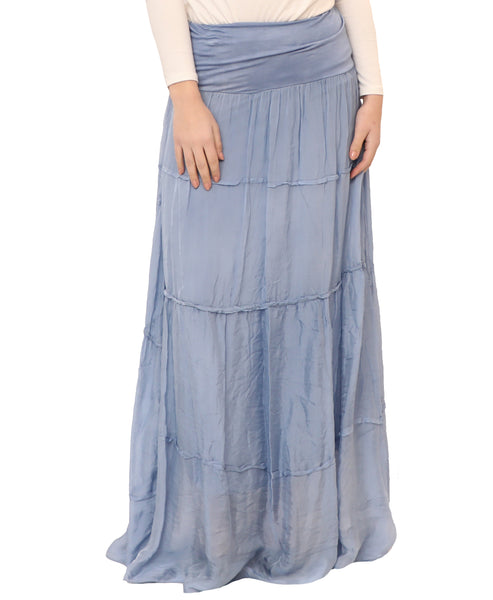 Silk Tiered Maxi Skirt