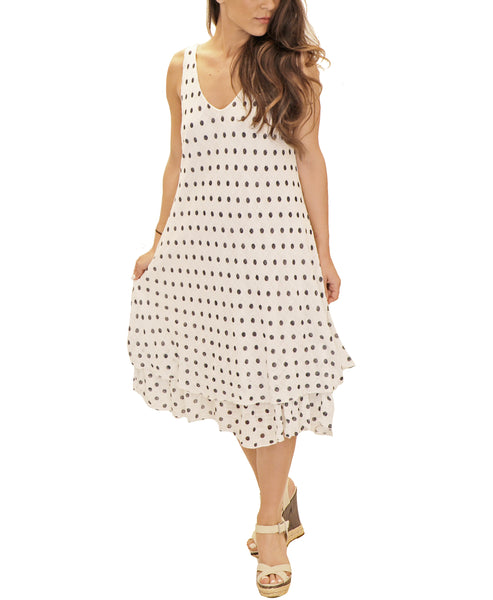 Zoom view for Sleeveless Polka Dot Layered Dress