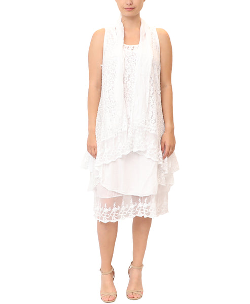 Lace Tunic, Dress & Scarf- 3 Pc. Set