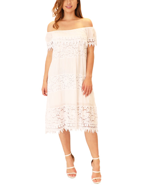 Off The Shoulder Dress w/ Lace