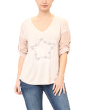 """Star"" Embroidered V-Neck Top"