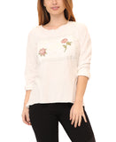 "Hi-Lo ""Love"" Floral Embroidered Top"