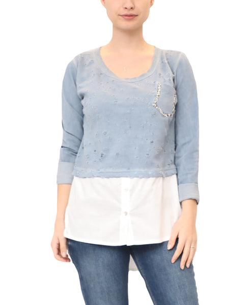 Distressed Top w/ Woven Underlay