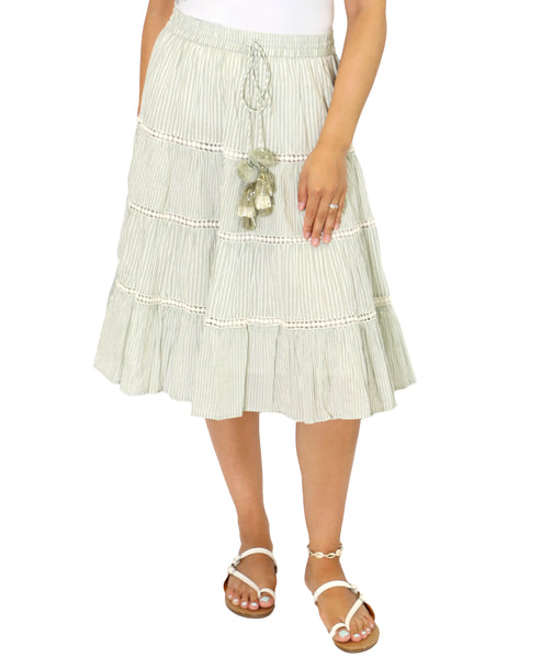 Zoom view for Stripe Midi Skirt A