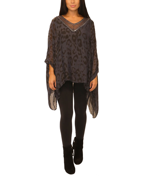 Silk Leopard Print Top w/ Sequin - Fox's