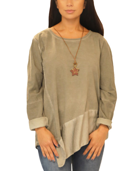 Asymmetrical Top w/ Necklace - Fox's