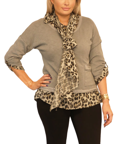 Leopard Print Mixed Media Top- 3 Pc. Set