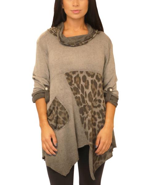 Leopard Print Mixed Media Tunic