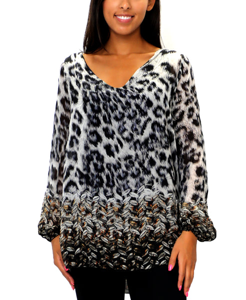 Zoom view for Silk Animal Print Tunic Top