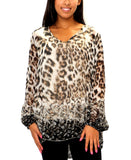 Silk Animal Print Tunic Top
