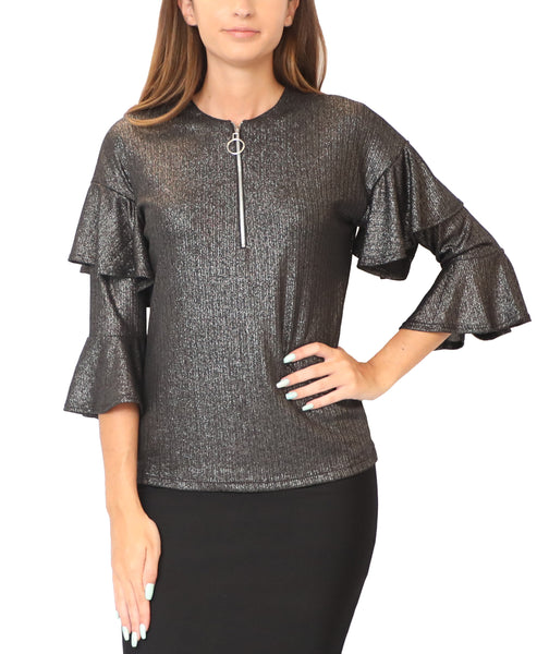 Sparkle Top w/ Tiered Ruffle Sleeves - Fox's
