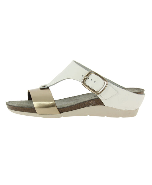 Leather T-Strap Wedge Thong Sandal