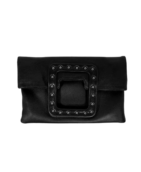 Zoom view for Leather Studded Fold Over Clutch