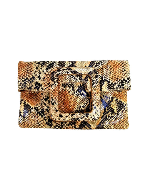 Zoom view for Leather Python Printed Fold Over Clutch