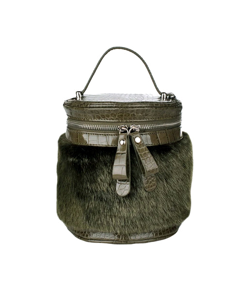 Zoom view for Faux Fur Zip Cylinder Crossbody