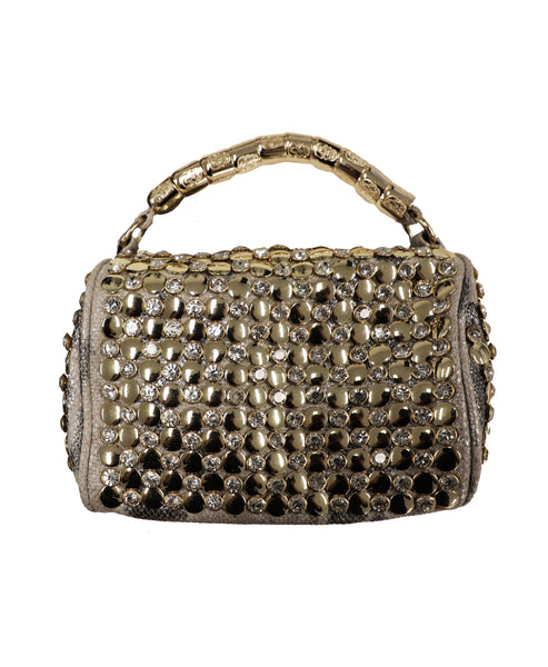 Studded & Rhinestone Animal Print Satchel