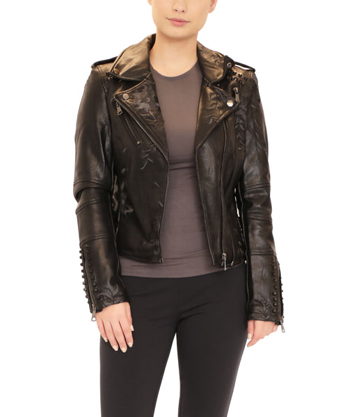 Faux Leather Moto Jacket w/ Embroidery & Studs