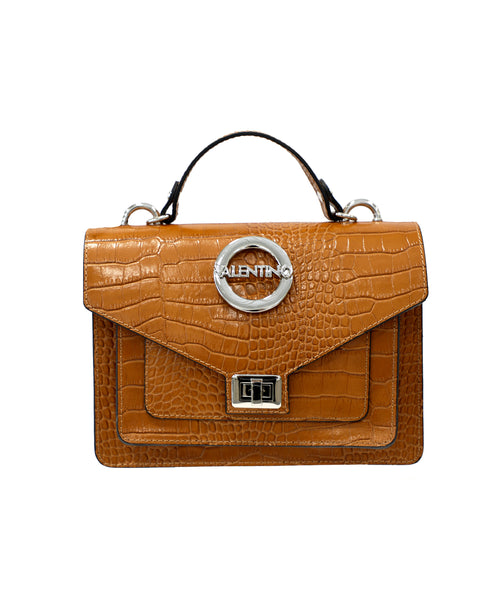 Zoom view for Leather Croc Embossed Top Handle Bag