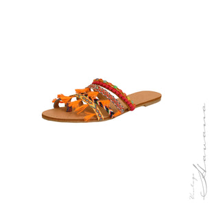 Mixed Media Toe Ring Slide Sandal