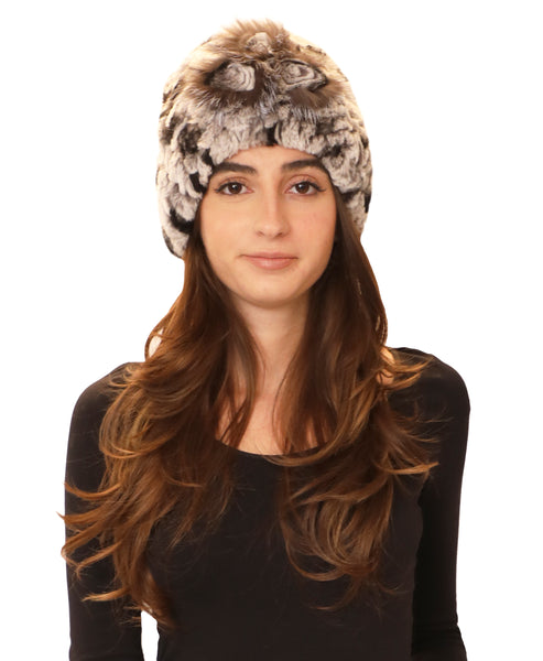 Fur Beanie Hat w/ Fur Rosette - Fox's