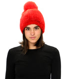 Knitted Mink Fur Knit Hat w/ Fox Pom