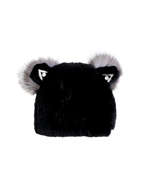 Zoom view for Knitted Fur Hat w/ Jeweled Ears A