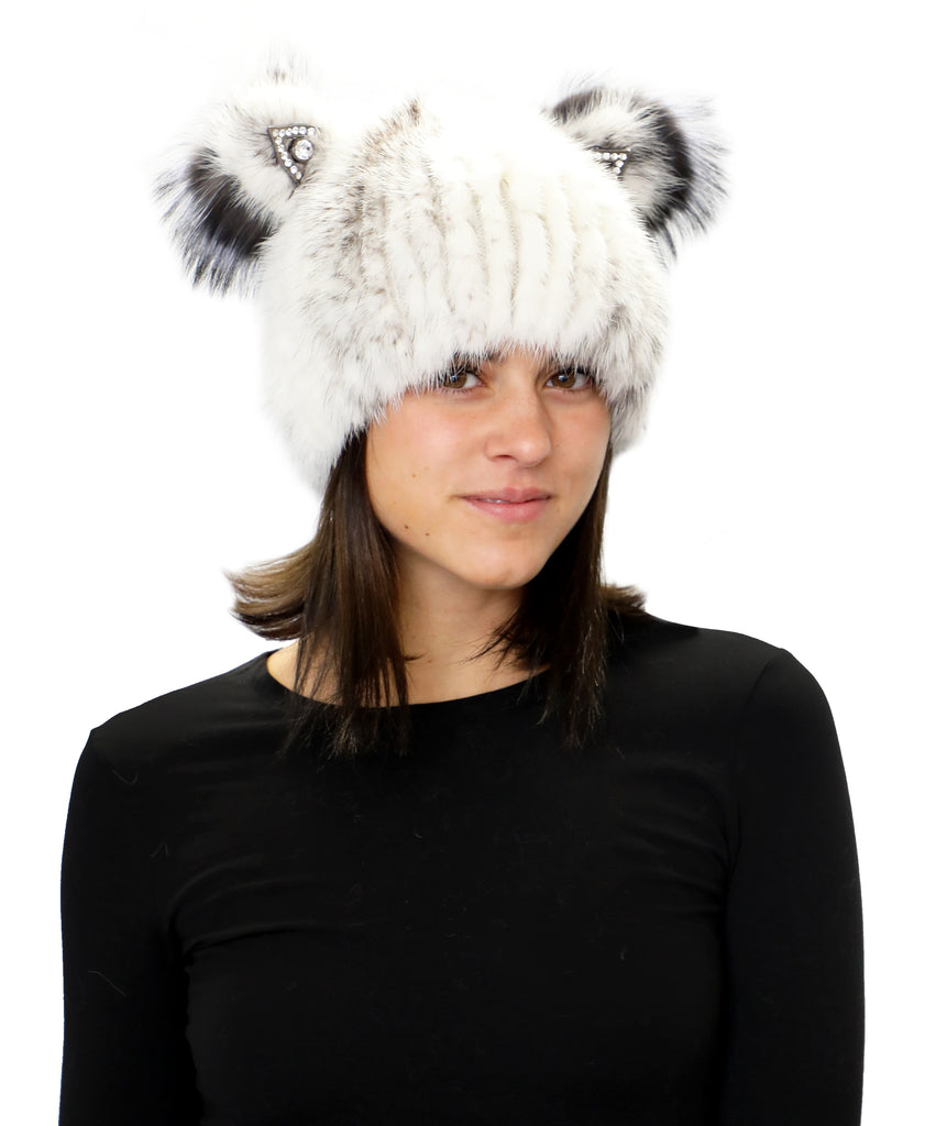 Knitted Fur Hat w/ Jeweled Ears