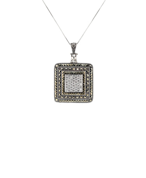 Zoom view for Square Pendant Necklace w/ Marcasite