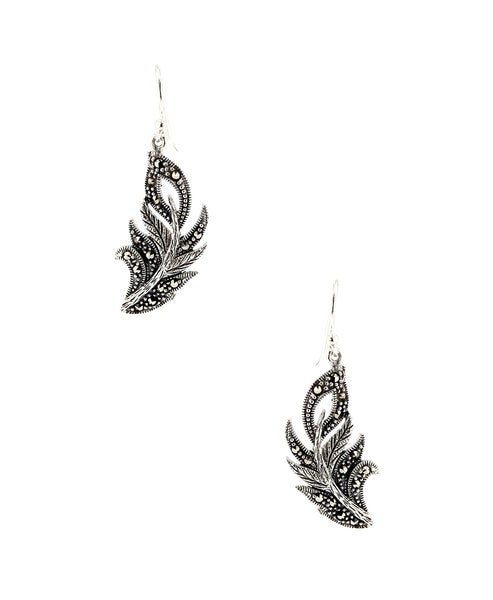 Zoom view for Feather Drop Earrings w/ Marcasite