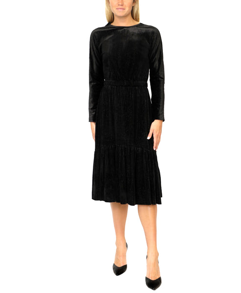 Zoom view for Ribbed Velour Dress w/ Lurex