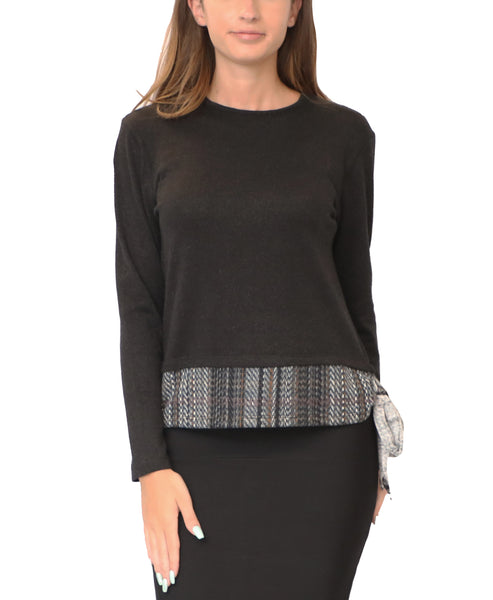 Lightweight Sparkle Knit Top w/ Plaid & Side Tie
