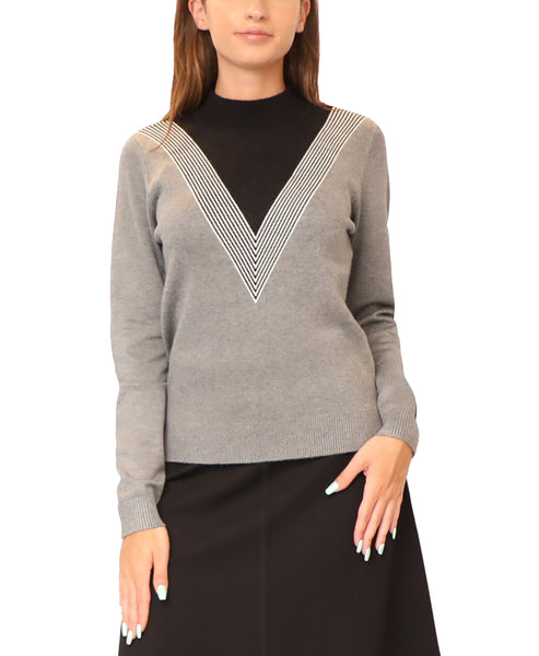 Lightweight Knit Sweater w/ Mock Neck